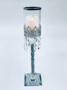 * Diamond Crush Sparkle Candle Holder (large) Pair of 2 CLEAR