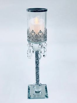 * Diamond Crush Sparkle Candle Holder (medium) Pair of 2 CLEAR