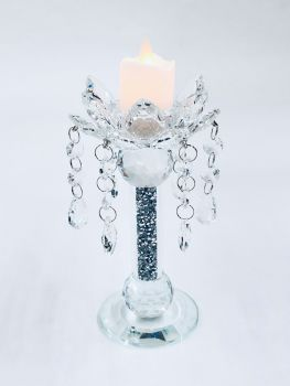 * Diamond Crush Sparkle shaped Candle Holder (large) Pair of 2 CLEAR
