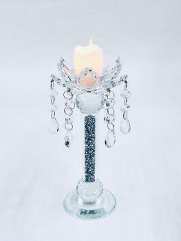 * Diamond Crush Sparkle shaped Candle Holder (medium) Pair of 2 CLEAR