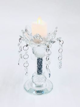 * Diamond Crush Sparkle shaped Candle Holder (small) Pair of 2 CLEAR