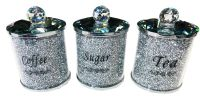 """ New Diamond Crush Set of 3 Tea, Coffee and Sugar Jars item in stock - special offer price"