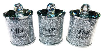 """ New Diamond Crush Set of 3 Tea, Coffee and Sugar Jars"