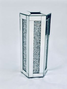 * New Diamond Crush Sparkle Crystal Mirrored Hex Vase instock