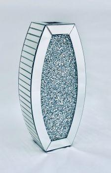 * New Diamond Crush Sparkle Crystal Mirrored Curve Vase instock