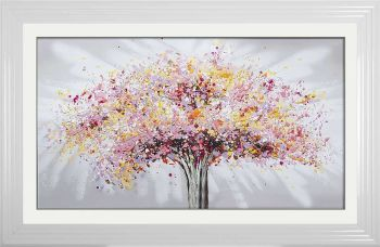 "framed art print ""Glitter Sparkle Blossom Tree Multi Colour"" in a choice of frames"