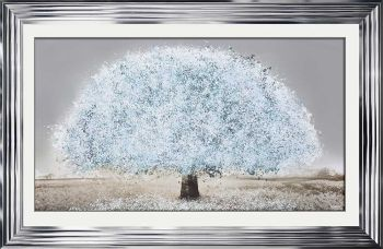 "framed art print ""Glitter Sparkle Blossom Tree  Blue"" in a choice of frames"