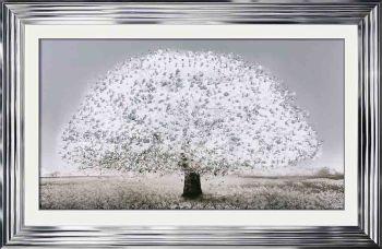 "framed art print ""Glitter Sparkle Blossom Tree White"" in a choice of frames"