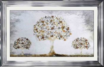 """framed art print """"Glitter Sparkle Copper Money Trees"""" with real coins in a silver stepped frame"""