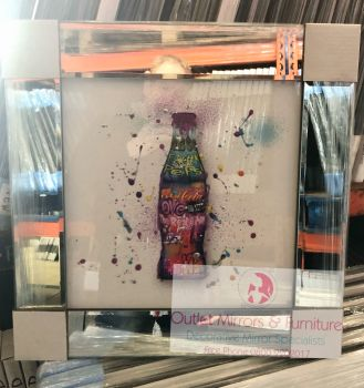 """Colourful Graffiti Coke Bottle "" Mirror framed Sparkle Art"