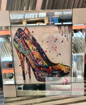 """Colourful Graffiti Stiletto Shoes"" Mirror framed Sparkle Art"