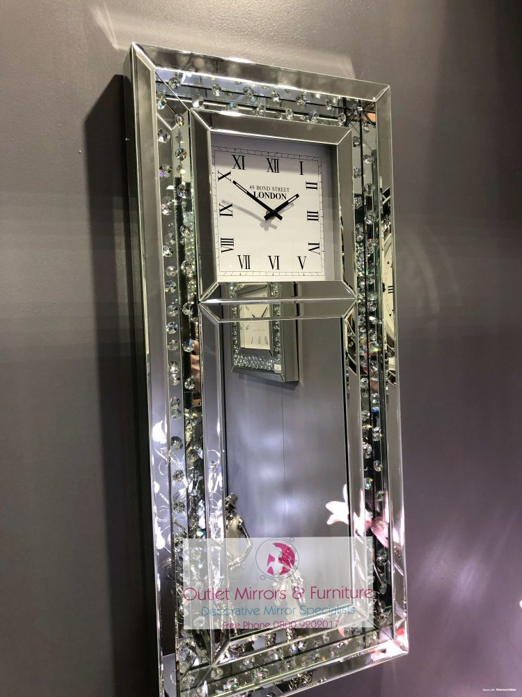 * New Chelsea Floating Crystal Mirrored Wall Clock in stock