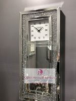 * New Chelsea Diamond Crush Sparkle Crystal Mirrored Wall Clock in stock