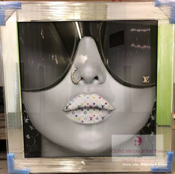 Media Art louis Vuitton multi colour Lips Mirror Framed sparkle Art 85cm x 85cm