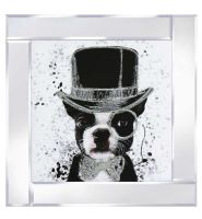 "Mirror framed art print ""Top hat Dog"""