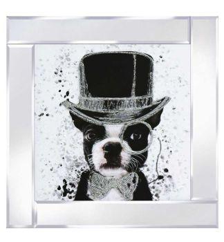 "Mirror framed art print ""Top hat Dog"""
