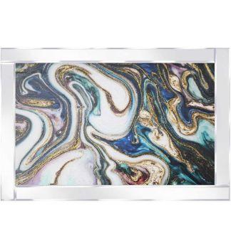 "Mirror framed art print "" Abstract Swirls "" 100cm x 60cm"