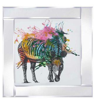 """Mirror framed art print """"Multi Colour Grazing Zebra"""""""