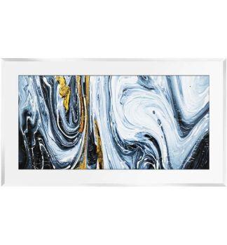 """ Abstract Swirls on Whte Gloss Mirror 100cm x 60cm"