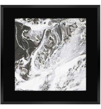 """ Abstract Swirls on Black Gloss Mirror 75cm x 75cm"
