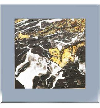 """ Abstract Swirls on smoked Glass Mirror 75cm x 75cm"