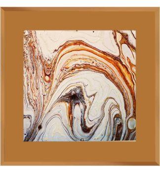 """"""" Abstract Swirls on Bronze Mirror 75cm x 75cm"""