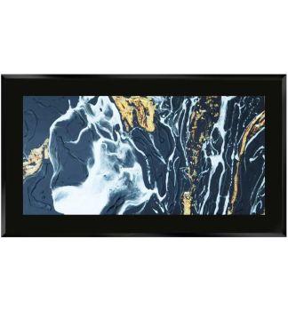 """ Abstract Swirls on Black Gloss Mirror 100cm x 60cm"