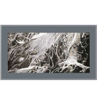 """ Abstract Swirls on smoked Glass Mirror 100cm x 60cm"