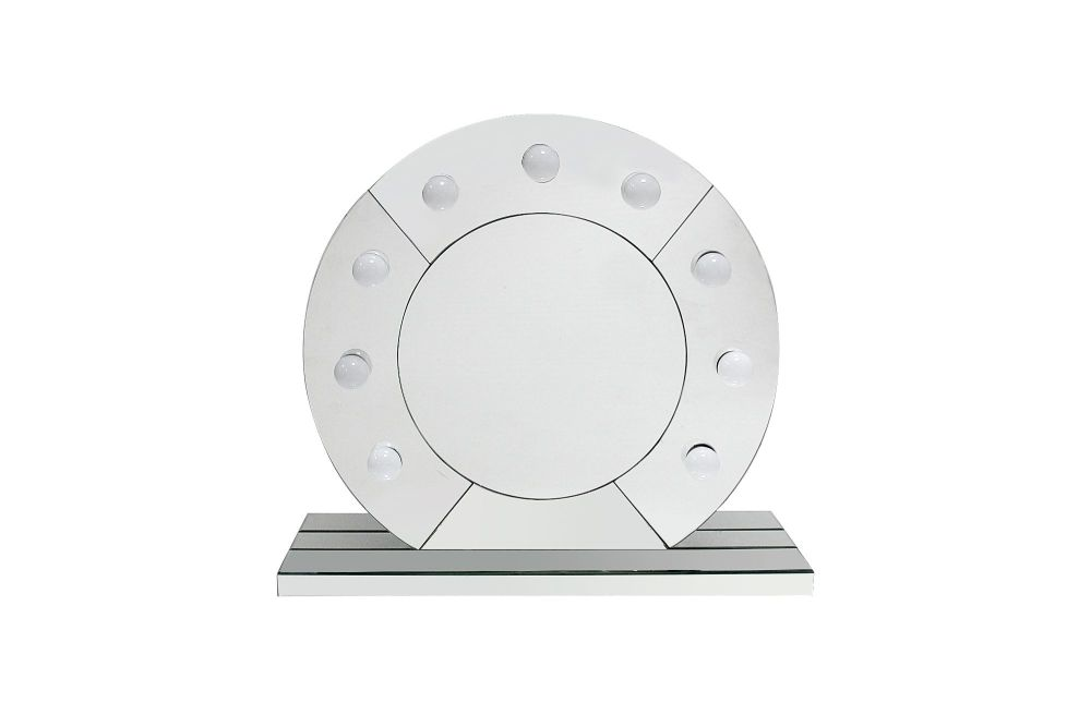Silver Free standing Round Hollywood Mirror 68cm x 59cm
