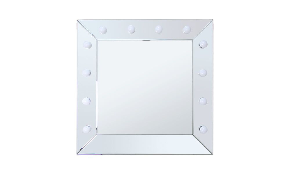 Silver Wall Mounted Square Hollywood Mirror 81cm x 81cm