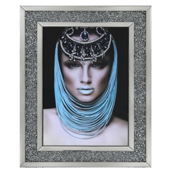 Egyptian lady 1 Media Wall Art in a diamond crush mirrored Frame
