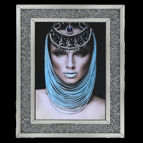 Egyptian lady 1 Media Wall Art in a diamond crush mirrored Frame