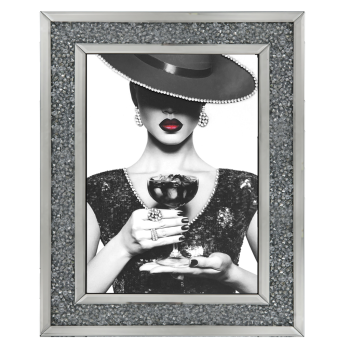 """Modern Lady 6"" Sparkle Wall Art in a Diamond crush Mirror Frame"