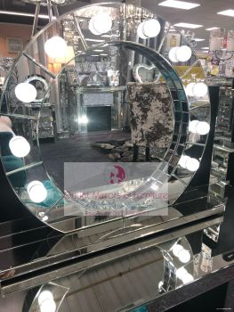 Silver Free standing Round Hollywood Mirror 78cm x 68cm