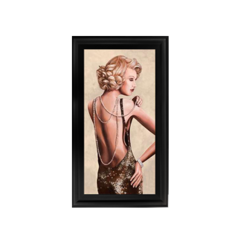 Glamour Lady Pearls wall Art in a choice of frame colours 114cm x 64cm
