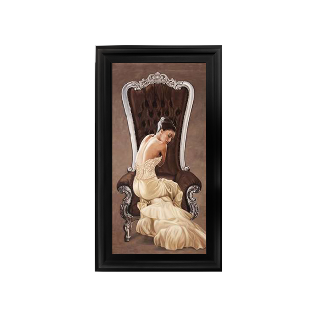 Glamour Lady in Grand Chair  wall Art in a choice of frame colours 114cm x