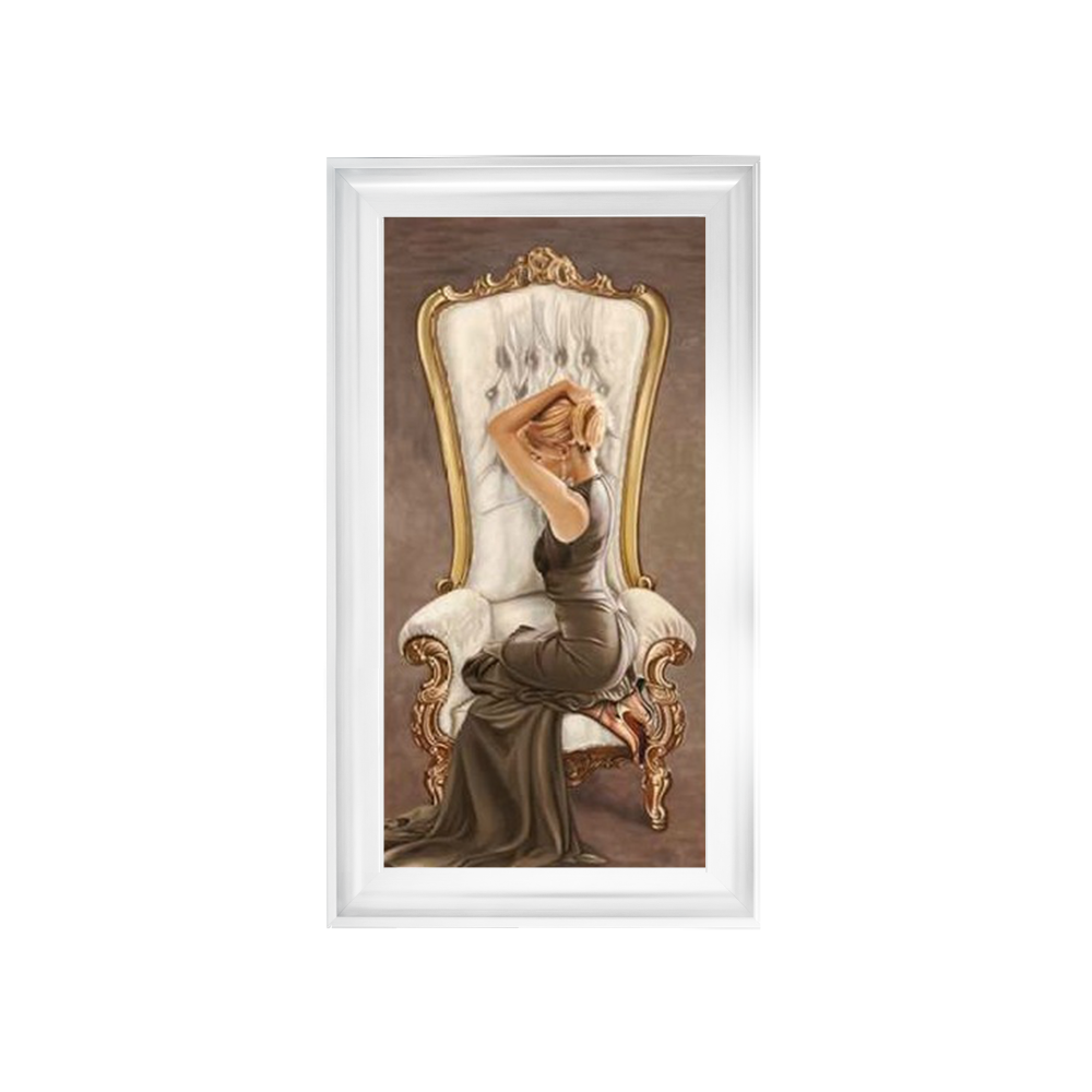 Glamour Lady in Grand Chair 2 wall Art in a choice of frame colours 114cm x