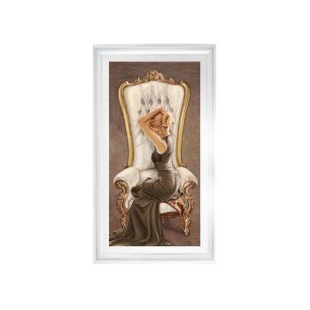 Glamour Lady in Grand Chair 2 wall Art in a choice of frame colours 114cm x 64cm