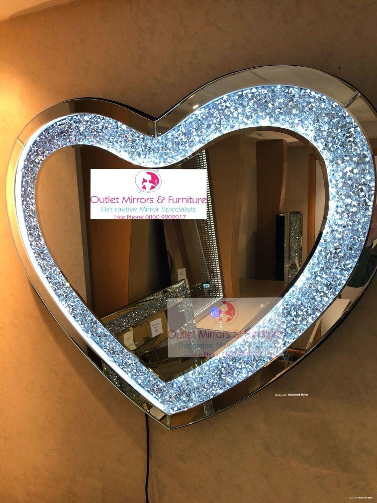 * New Diamond Crush Sparkle LED Heart Wall Mirror 90cm x 70cm item in stock