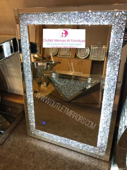 Diamond Crush Sparkle Led Wall Mirror 100cm x 70cm Item in stock
