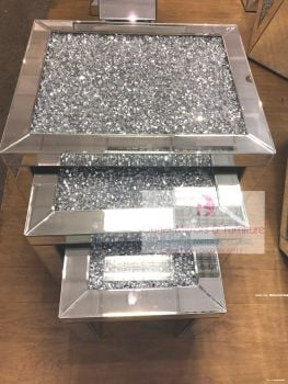 * Diamond Crush Crystal large Nest of 3 Tables item in stock SPECIAL OFFER