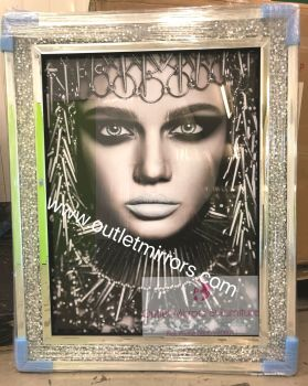 Egyptian lady 2 Media Wall Art in a diamond crush mirrored Frame