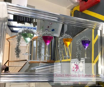 Jake Johnson 3D Colourful Martini's wall art on a Silver mirror backing chrome stepped frame  in stock