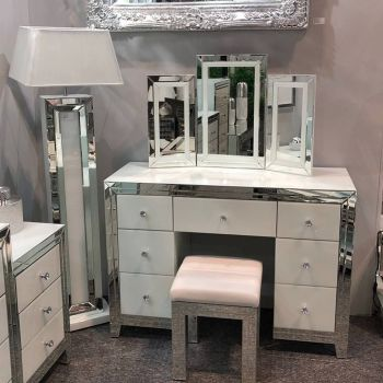 Bianco White & Mirrored Dressing Table Set with Stool & tri fold Mirror
