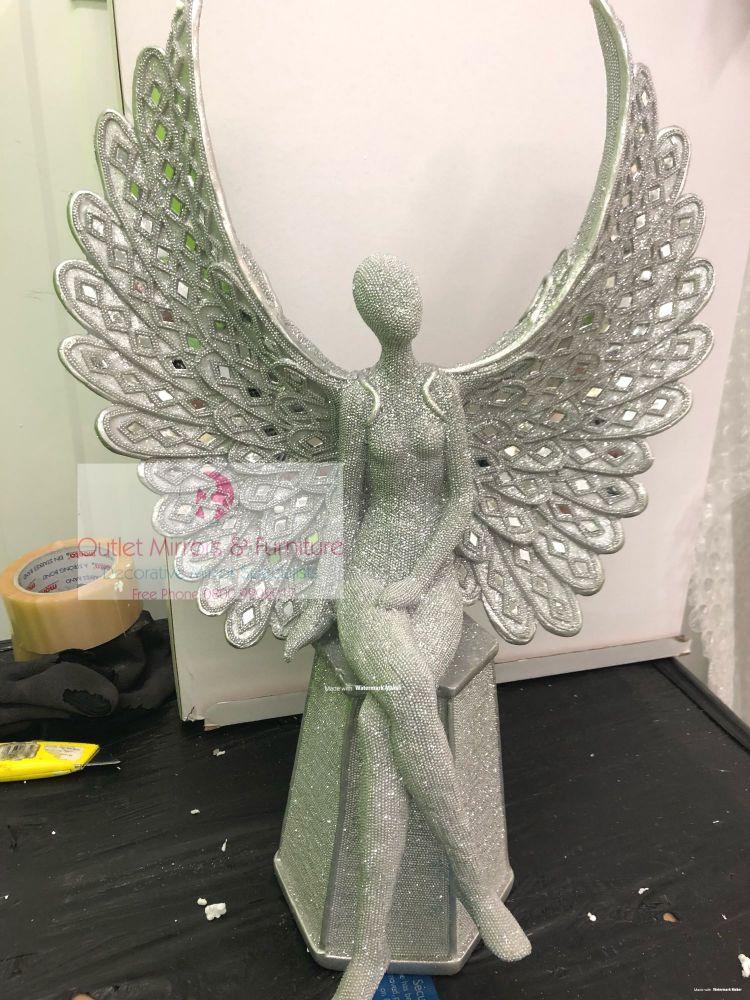# Angel Wings Sitting Lady Cross leg in Sparkle Silver