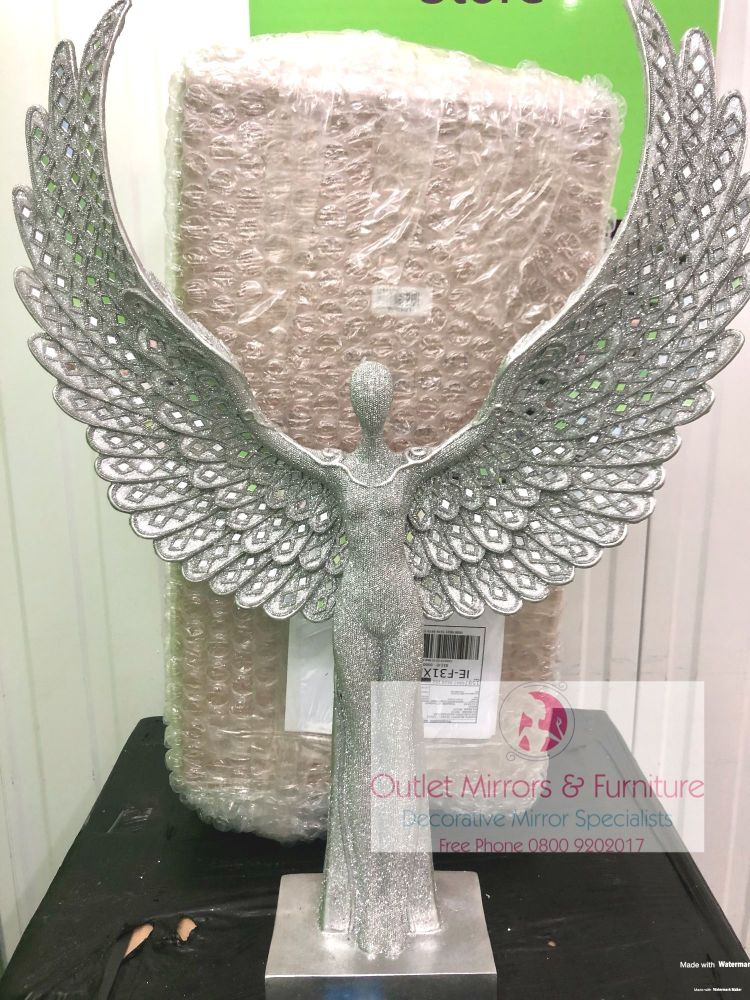 # Standing Sparkle Angel flared Wings Lady 81cm x 56cm x 13cm
