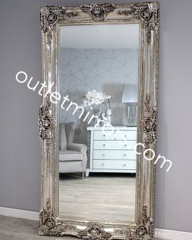 Rococo Scroll Champagne Silver Shaped Bevelled Mirror 204cm