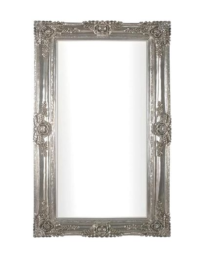 Rococo Scroll Champagne Silver Shaped Bevelled Mirror 122cm