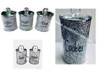 """ New Diamond Crush Set of 3 Tea, Coffee and Sugar Jars, Salt & Pepper Shakers and Biscuit Barrel"