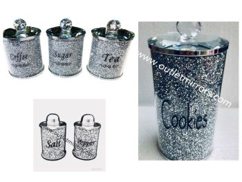 """ New Diamond Crush Set of 3 Tea, Coffee and Sugar Jars, Salt & Pepper Shakers and Cookie Jar Package"